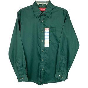 50% OFF Wrangler Green Button-Down Shirt, Small